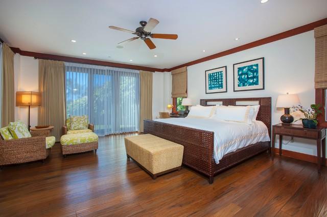 Large coastal master dark wood floor bedroom photo in Hawaii