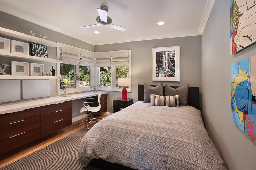 Trendy bedroom photo in Orange County with gray walls