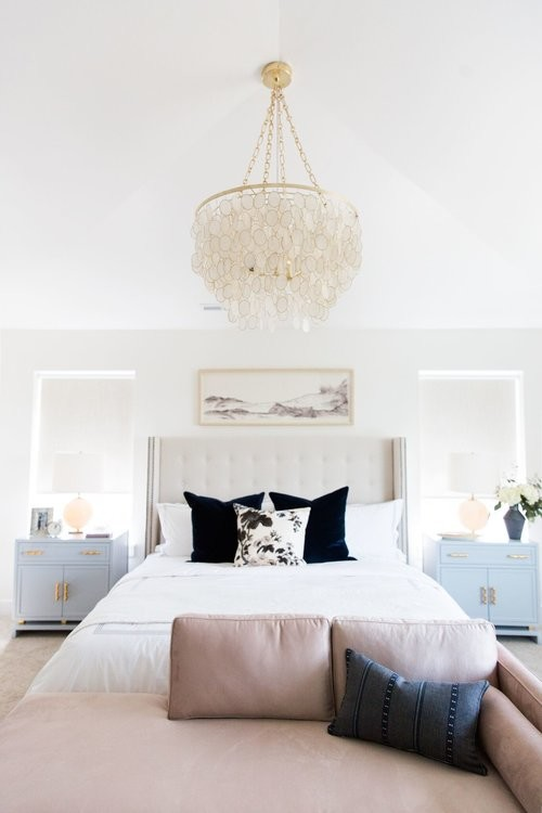 Example of a mid-sized transitional master carpeted and white floor bedroom design in Salt Lake City with white walls