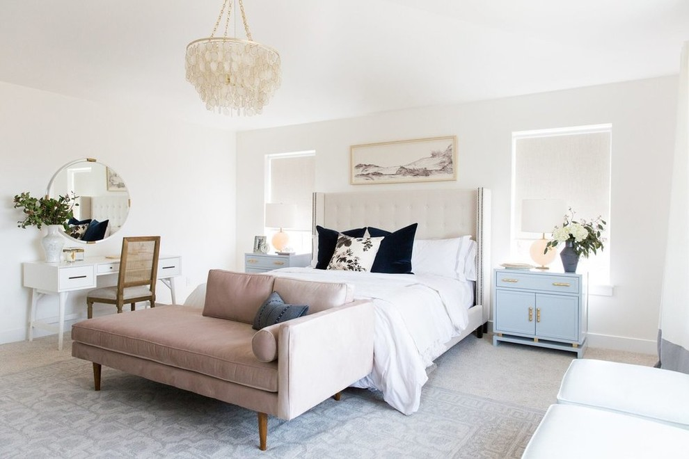 Bedroom - mid-sized transitional master carpeted and beige floor bedroom idea in Salt Lake City with white walls
