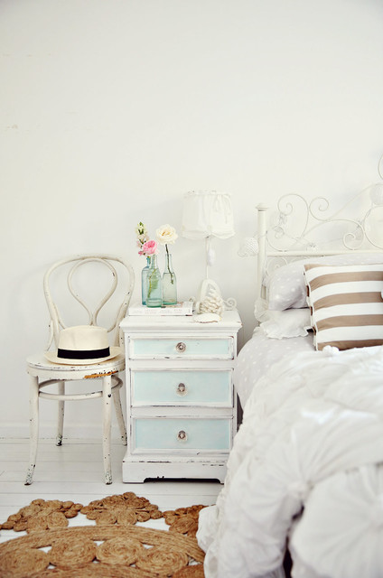 Vintage Coastal Beachy Nightstand Bedside shabby-chic-style-bedroom