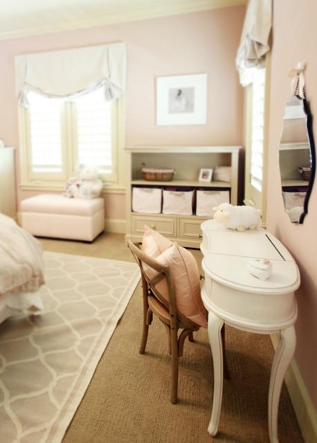 Vintage girls bedroom playroom traditional bedroom for Warm sand paint color