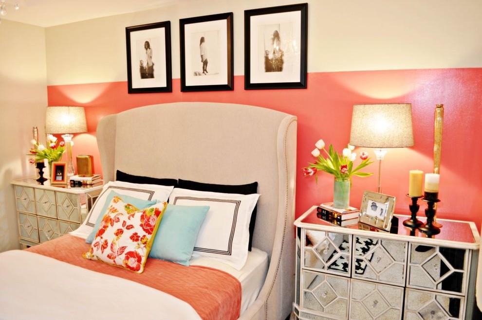 Bedroom - contemporary bedroom idea in Miami with pink walls
