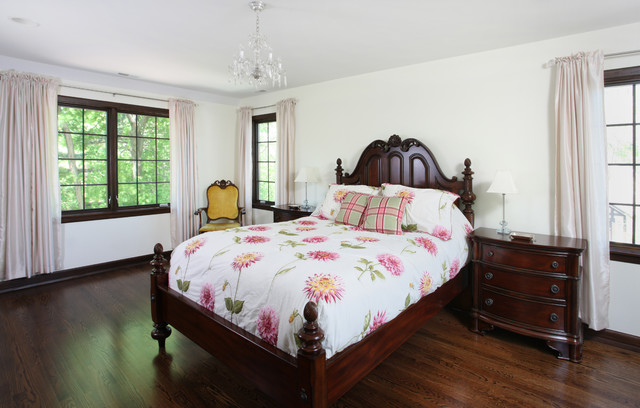 Vintage style bedroom in tudor home traditional for Tudor style bedroom