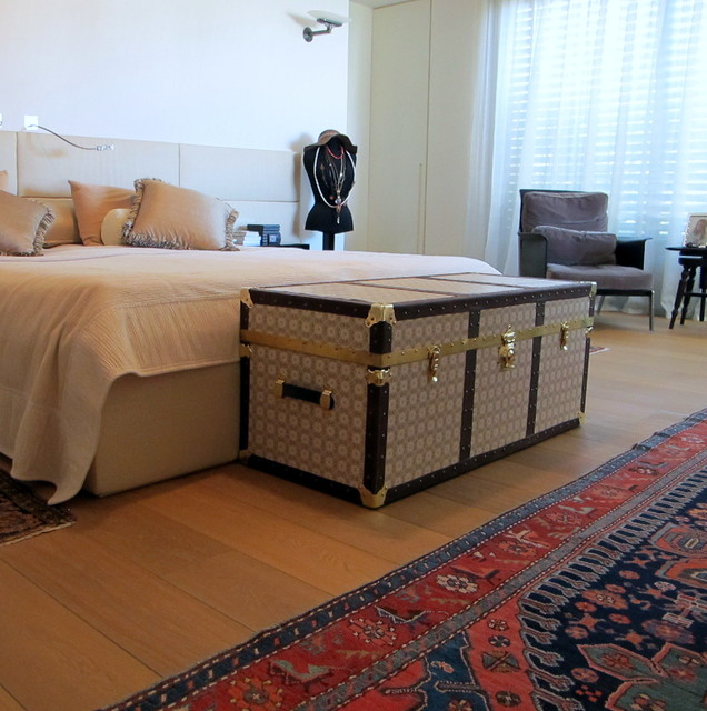 Great VIntage Trunks Contemporary Bedroom