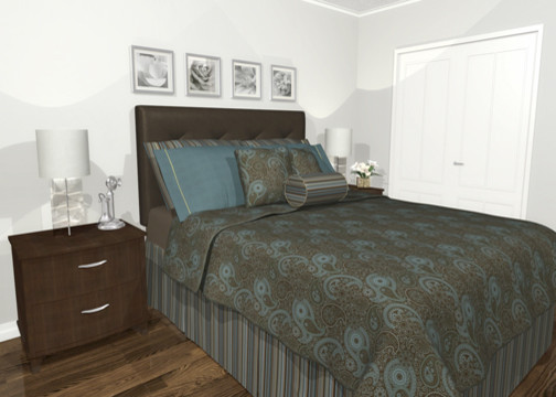 virtual bedroom classic blue and brown bedroom toronto