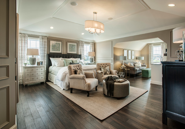 Marvelous Inspiration For A Large Transitional Master Dark Wood Floor Bedroom Remodel  In Philadelphia With Gray Walls