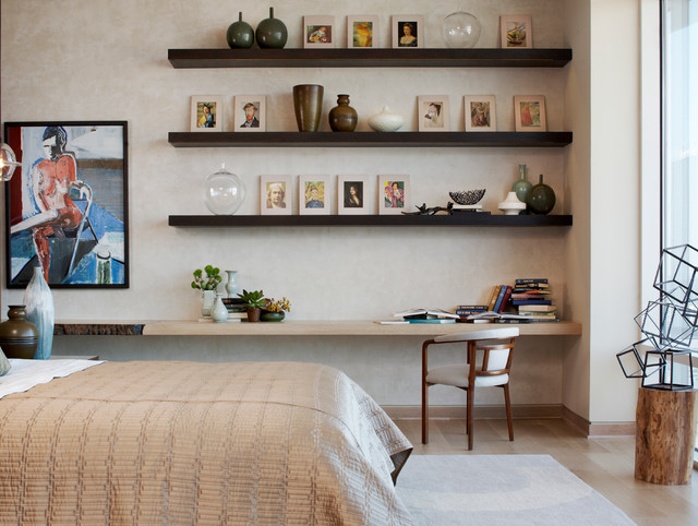 modern bedroom shelves  W Dallas Penthouse