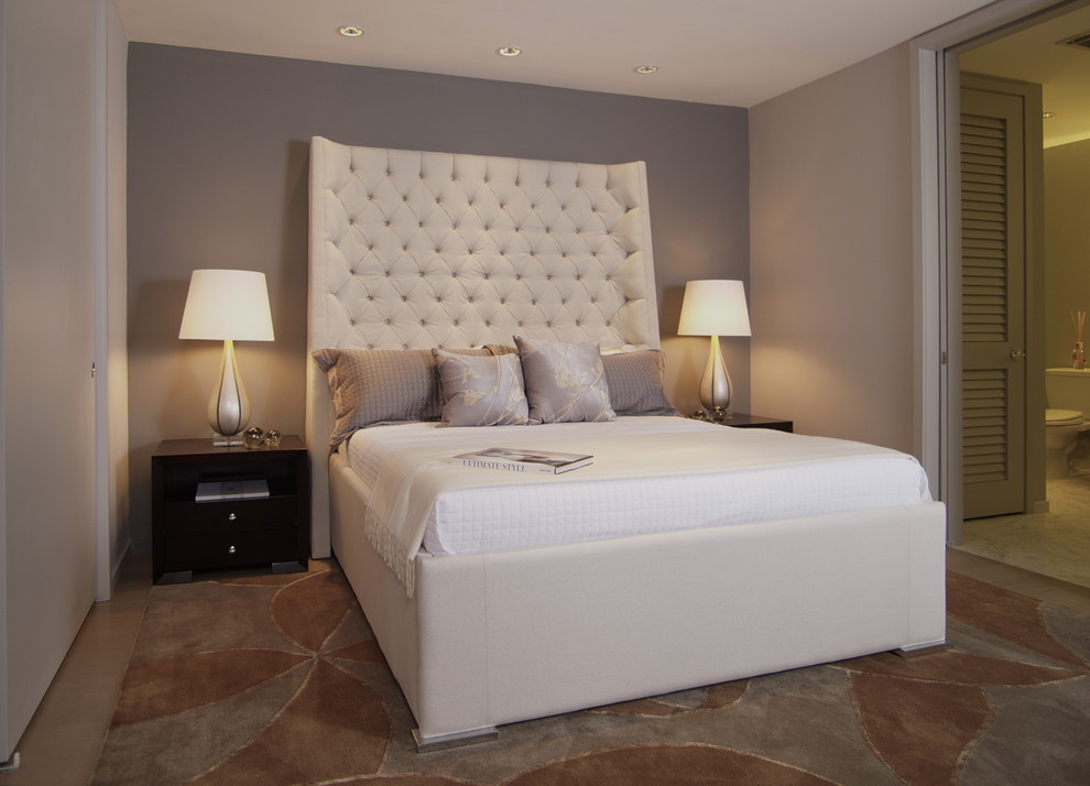 Trendy bedroom photo in Atlanta with gray walls and no fireplace