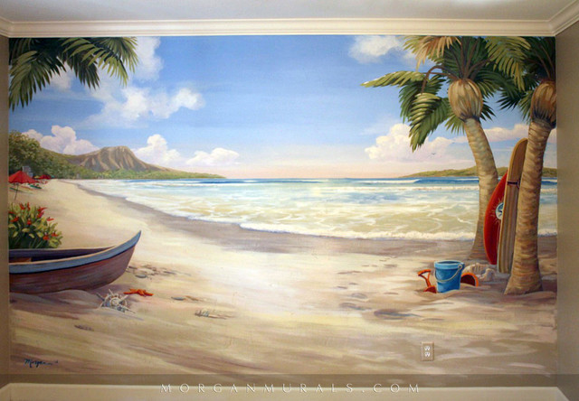 Waikiki beach wall mural beach style bedroom san for Beach themed mural