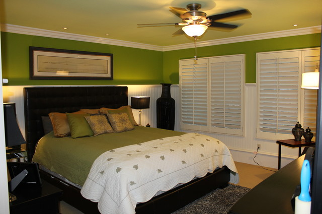 Wainscoting And Beadboard Traditional Bedroom Orange