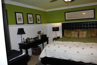 Wainscoting And Beadboard Traditional Bedroom Orange