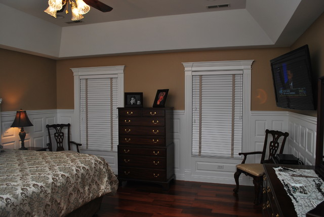 wainscoting beadboard with raised panel headboard traditional bedroom