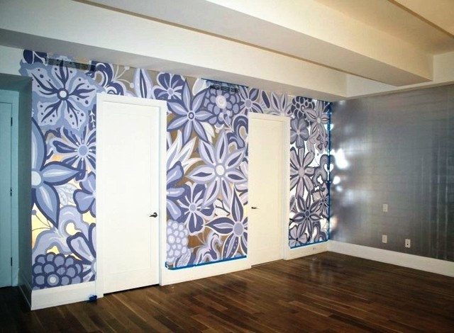 Wall Featuring Hand Painted Mural On Top Of Silver Leaf Gilding Bedroom Part 14