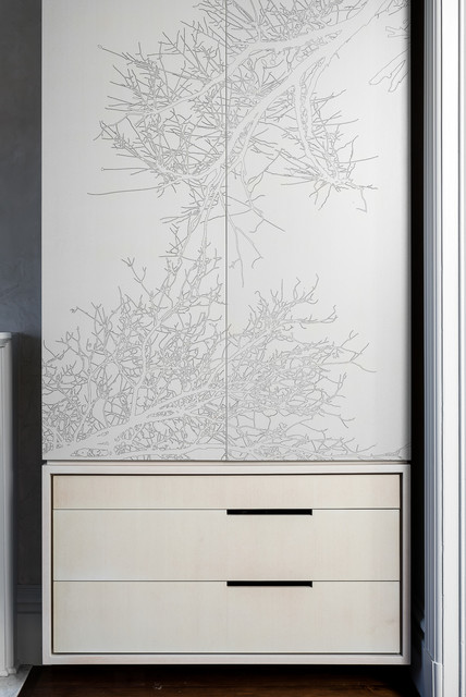 Wallpaper Covered Cabinet contemporary-bedroom