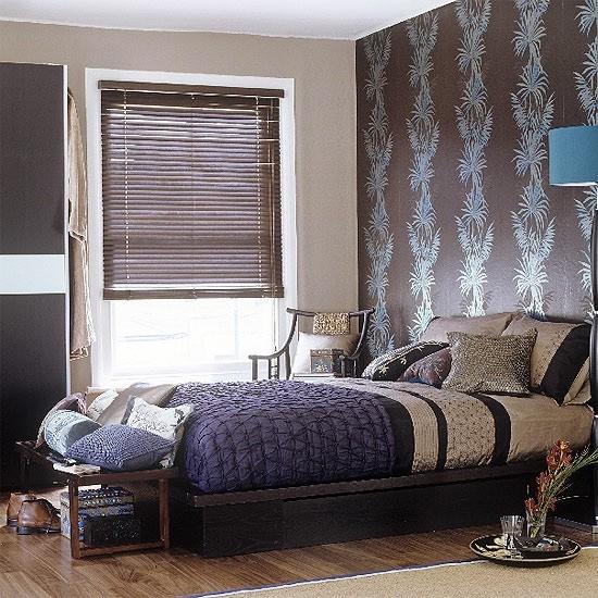 wallpaper idea, colors eclectic-bedroom