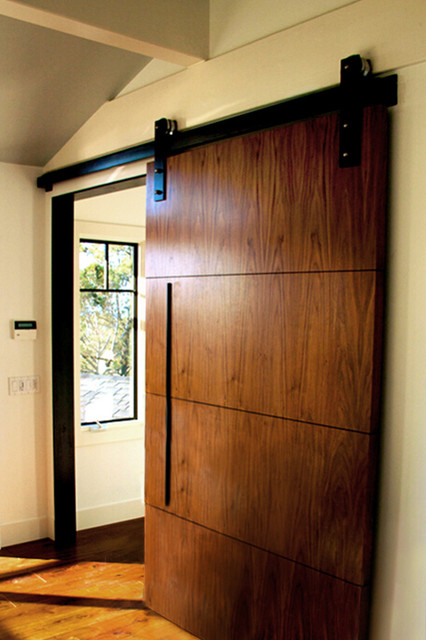 Walnut barn door yuhl residence contemporary bedroom for Bedroom barn door hardware