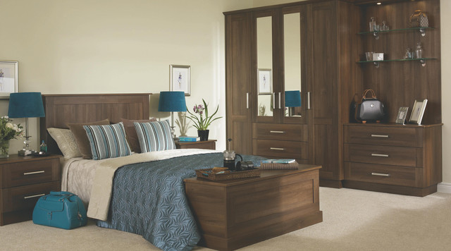 Walnut effect modular bedroom furniture system for Modular bedroom furniture systems
