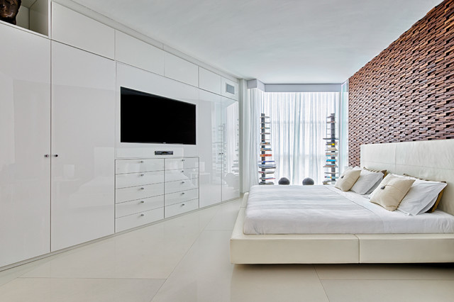 WardrobeTV Unit Contemporary Bedroom Miami By Mezzanotte - Bedroom wardrobe designs with tv unit