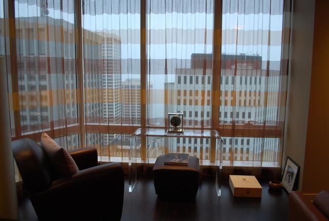 Warm Contemporary Condominium contemporary-bedroom