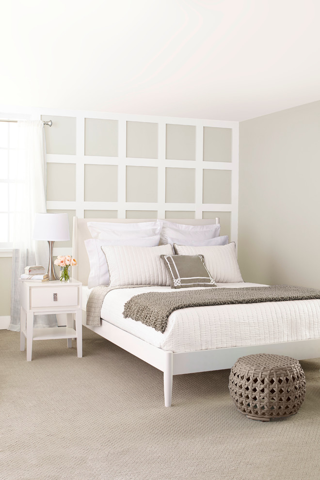 Example of a mid-sized transitional master carpeted bedroom design in Charlotte with gray walls