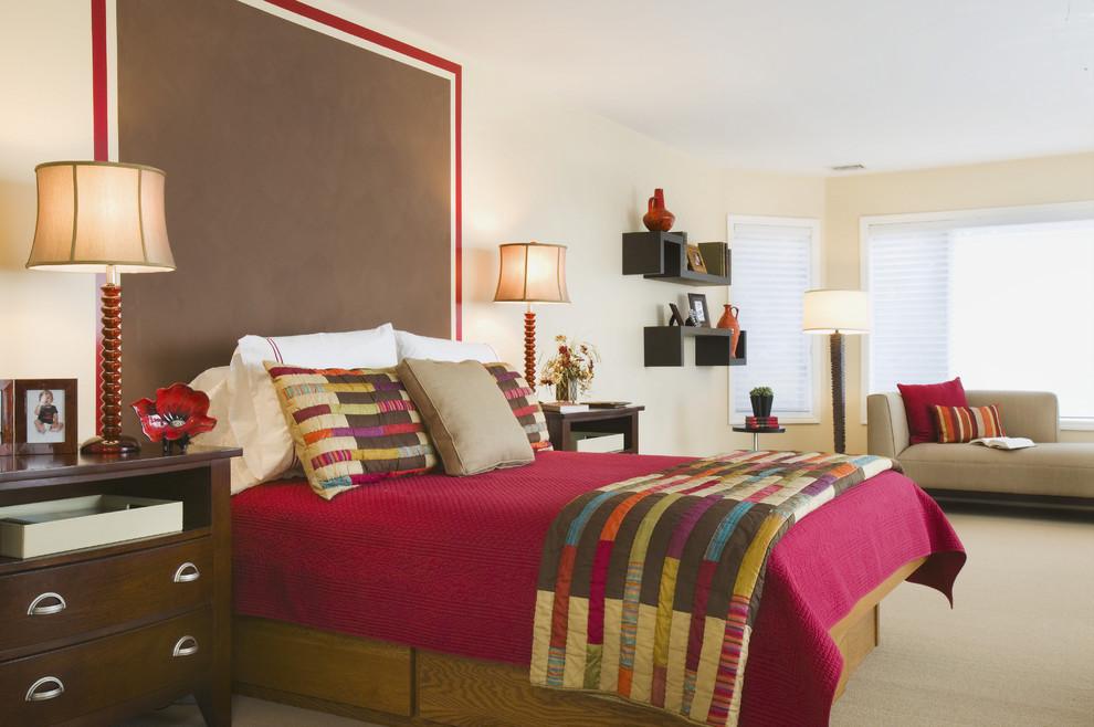 Bedroom - eclectic carpeted bedroom idea in Bridgeport with beige walls and no fireplace