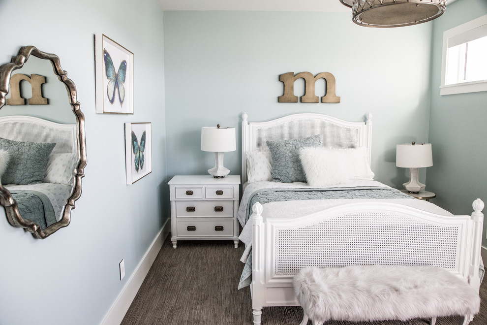 Mid-sized elegant carpeted and gray floor bedroom photo in Salt Lake City with blue walls