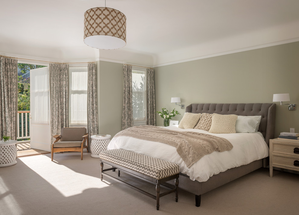 Bedroom - transitional carpeted bedroom idea in San Francisco with gray walls