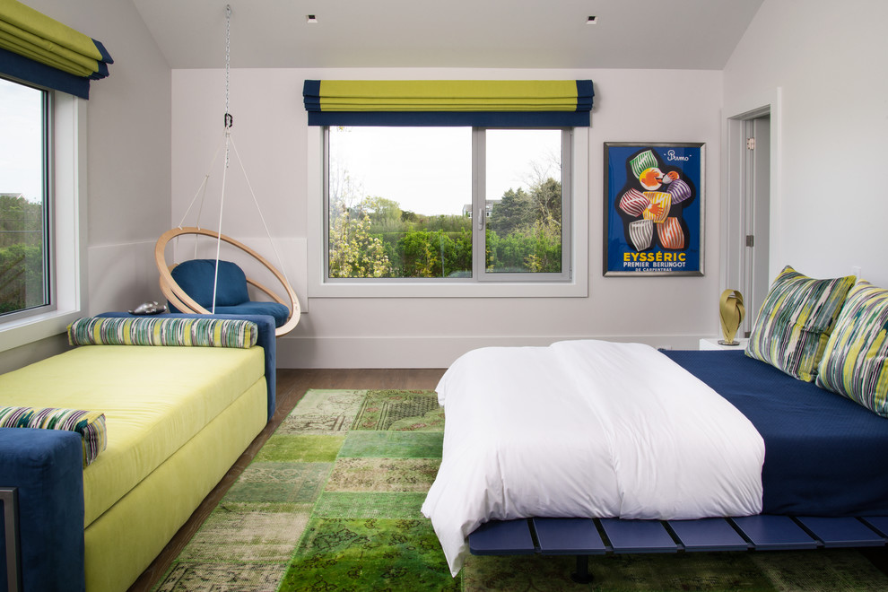 Example of a trendy guest bedroom design in New York with white walls