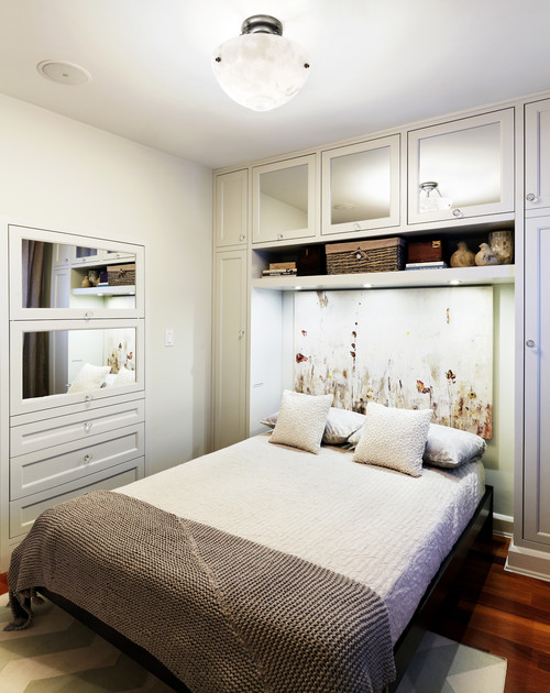 Built-in storage efficiently divides a room