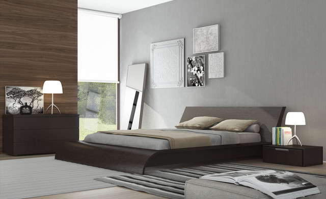 Waverly Queen Size Platform Bedroom Set In Wenge Modern Bedroom