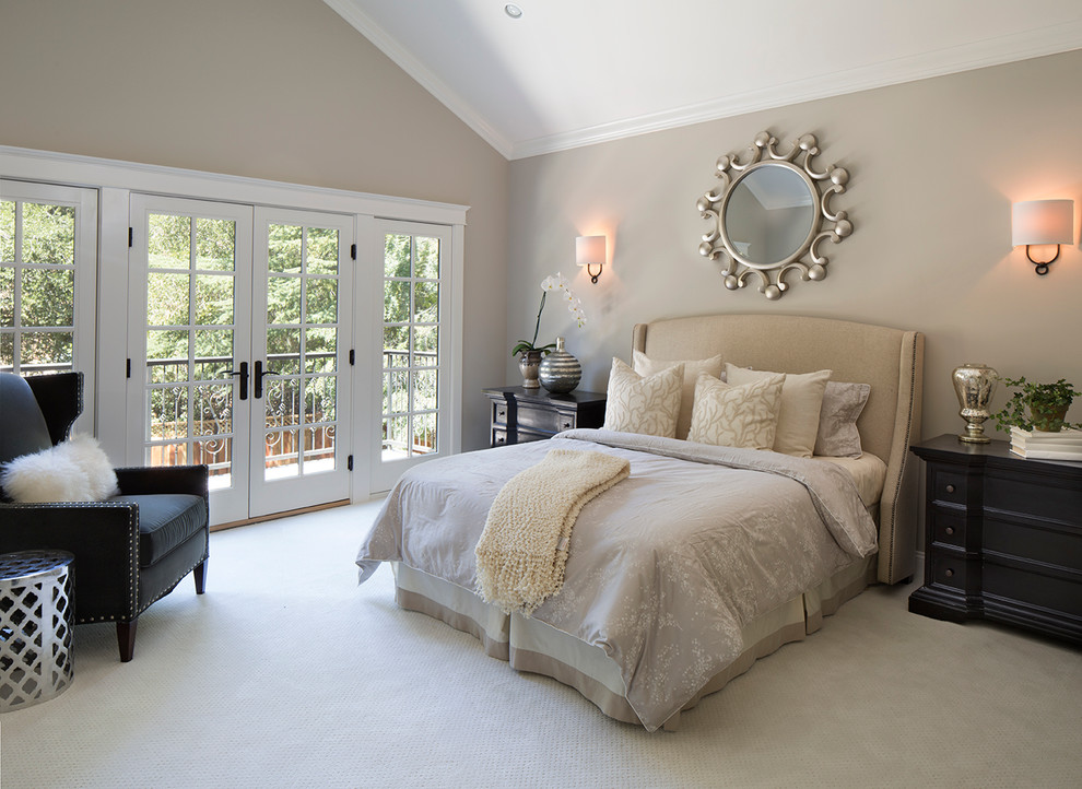 Mid-sized transitional carpeted bedroom photo in San Francisco with gray walls