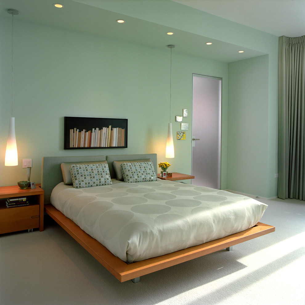 Example of a trendy bedroom design in Chicago with green walls