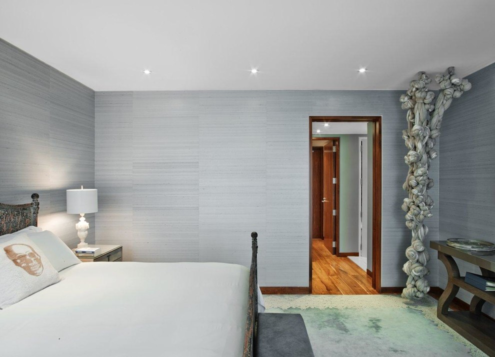 Inspiration for a contemporary bedroom remodel in New York with gray walls and no fireplace