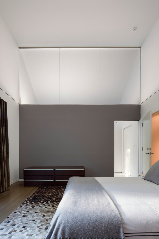 Inspiration for a large contemporary medium tone wood floor and brown floor bedroom remodel in San Francisco with gray walls
