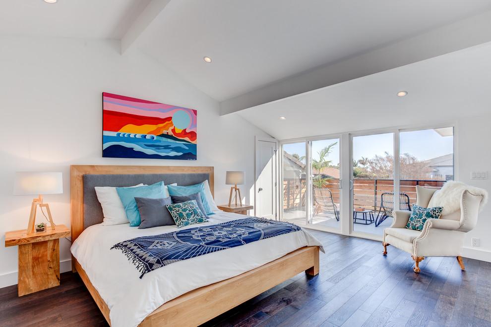 Bedroom - large contemporary master dark wood floor bedroom idea in Los Angeles with white walls