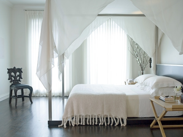 white canopy contemporary-bedroom