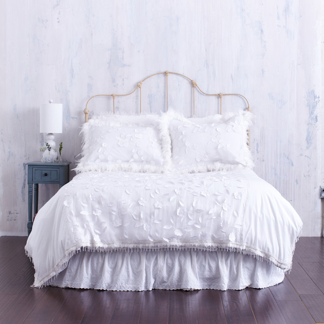 White Duvet Cover With Textured Floral Amp Bead Trim