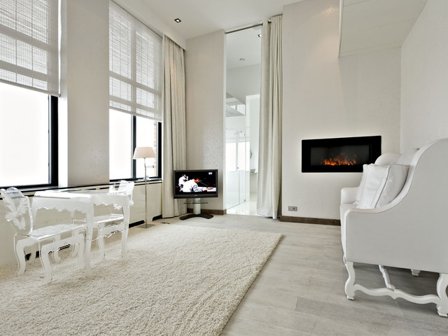 White Hardwood Floors Modern Bedroom
