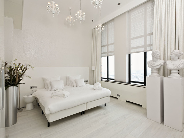 White Hardwood Floors Modern Bedroom San Diego By