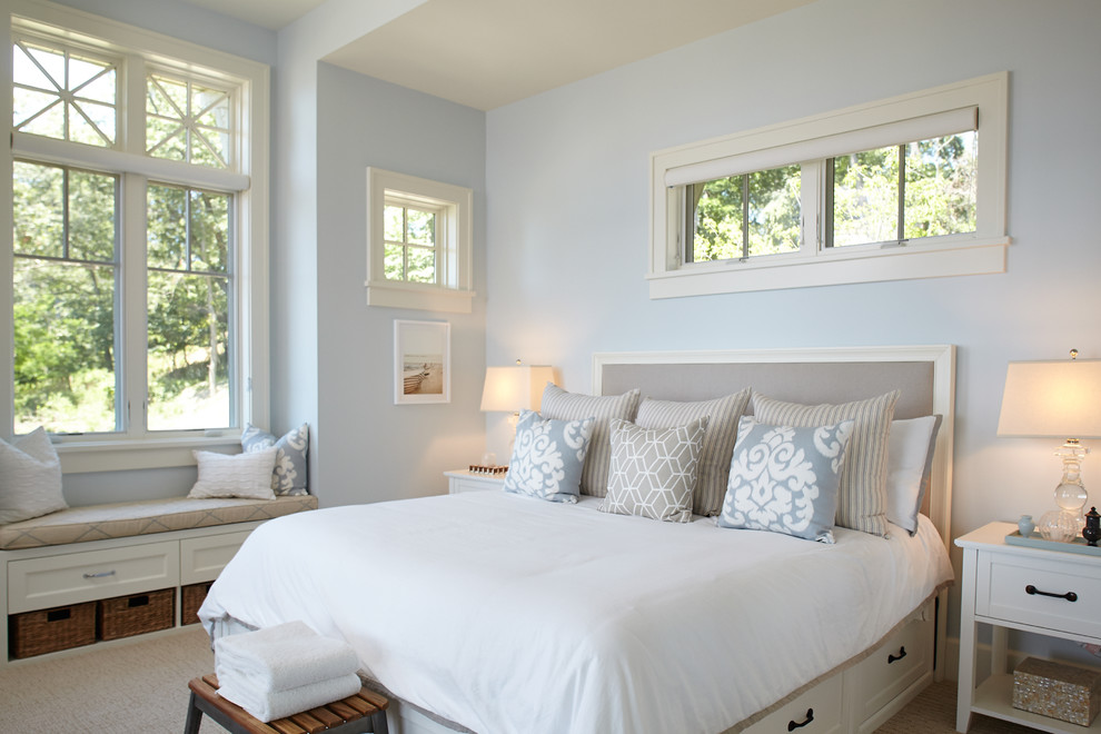 Bedroom - coastal master bedroom idea in Grand Rapids with blue walls and no fireplace