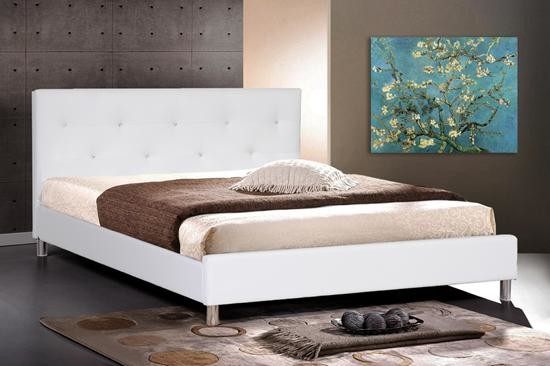 white leather modern queen size bed frame with crystal button contemporary bedroom