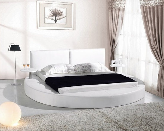 White Leather Queen Size Round Platform Bed With Two Attached Tables - Features: