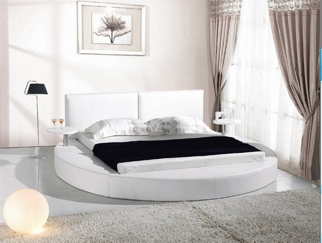 White Leather Queen Size Round Platform Bed With Two Attached Tables Contemporary Bedroom