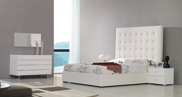 White leather tall headboard bed contemporary bedroom for Spring hill designs bedroom furniture