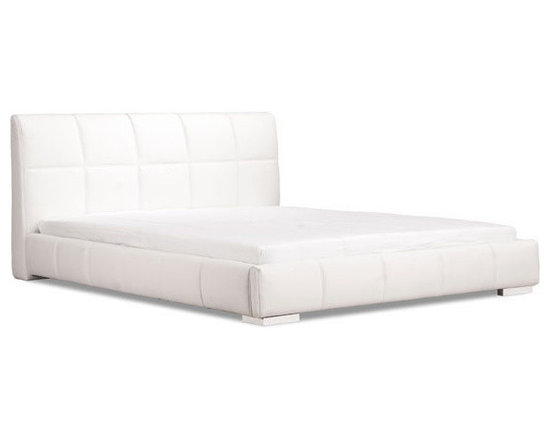 White Leatherette Platform King Size Bed - Wrapped in a luxurious leatherette, the Amelie bed is a gorgeous platform bed with style and the appropriate flash. With a bowed and slated mattress support, it provides generous comfort with durability.