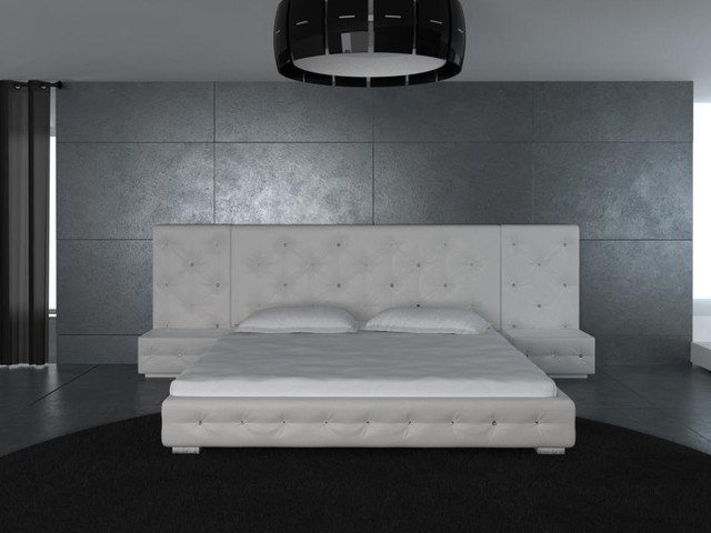 white modern leather bed with headboard 2 nightstands