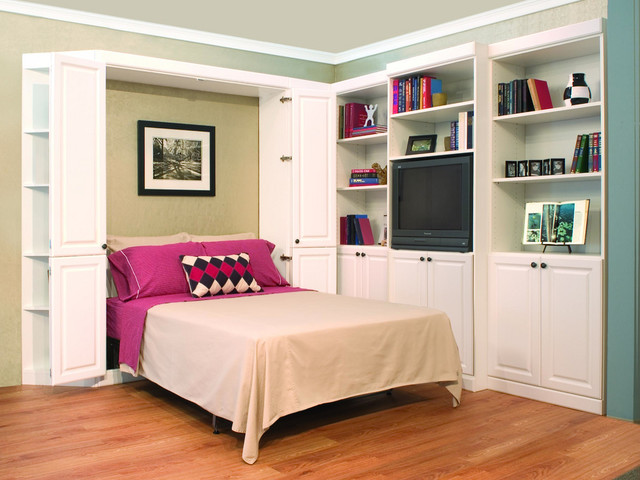 White Murphy Bed With Bi Fold Doors And Media Center Traditional Bedroom