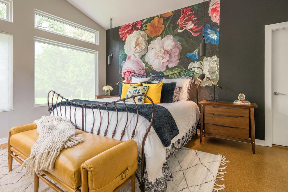 Bedroom - eclectic cork floor and brown floor bedroom idea in Dallas with multicolored walls