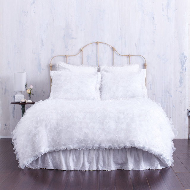 White Ruffled Duvet Cover With Rosette Trim & Chenille Top